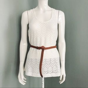 Knit Lace Tank Top with Belt